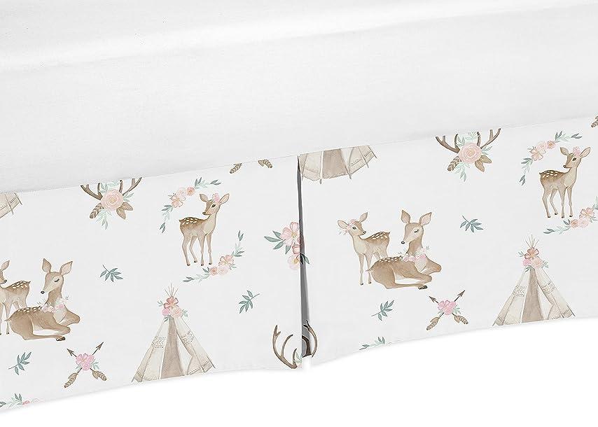 移動ばかげたティーンエイジャーSweet Jojo Designs ブラッシュピンク ミントグリーンとホワイト ボーホー プリーツ ツイン ベッドスカート ダスト フリル ウッドランドシカ フローラルコレクション タン