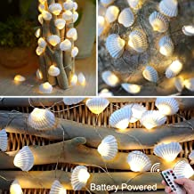 Lightingift Seashell String Lights, Beach Themed 13.8 ft 40 LED Lights, Battery Operated with Remote for Wedding Summer Holiday Birthday Parties Fishtank & Home Decorating (Warm White)