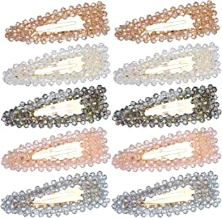 Folora 10pcs Women Girls Multicolored Shimmering Rhinestone Alligator Hair Clips Fashion Sweet Bobby Pins Snap Barrettes