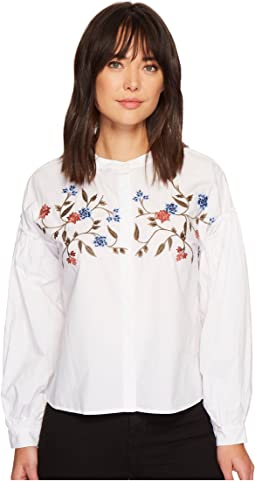 TWO by Vince Camuto - Long Sleeve Embroidered Bubble Sleeve Button Down Shirt