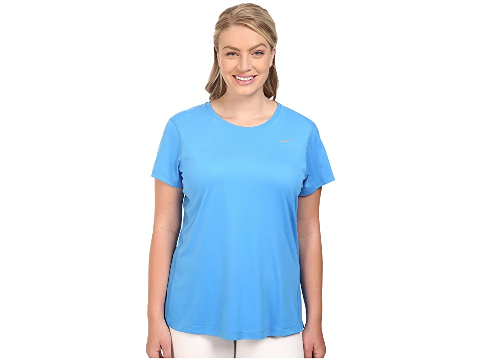 Nike Miler Short-Sleeve Running Top (Size 1X-3X) (Light Photo Blue) Women
