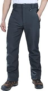 Men's Lite Waterproof Windproof Fleece Lined Warm Hiking Ski Snow Pants Expandable-Waist