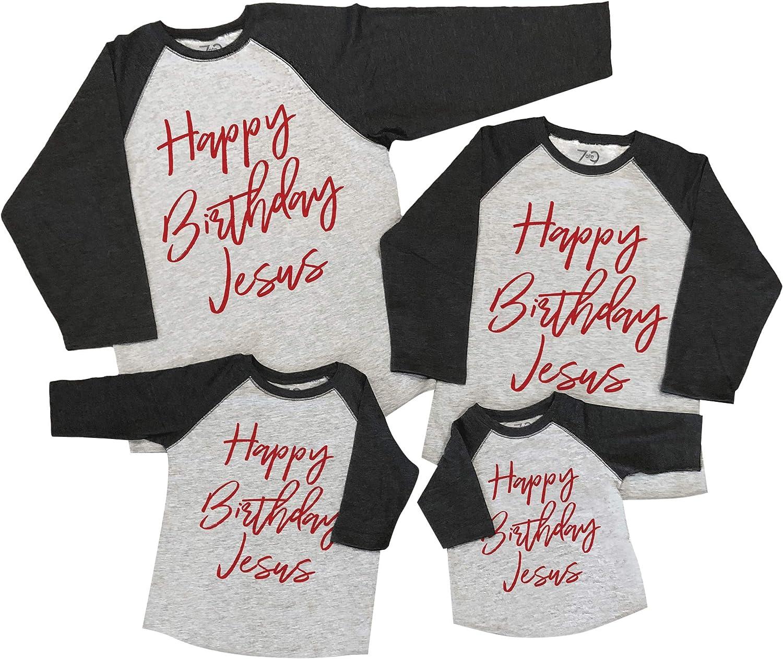 7 ate 9 Apparel Matching Family Christmas Shirts - Happy Birthday Jesus Grey Shirt