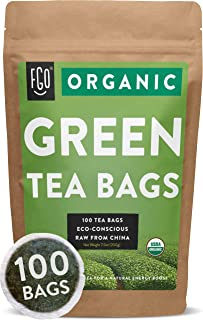 Organic Green Tea Bags | 100 Tea Bags | Eco-Conscious Tea Bags in Foil Lined Kraft Pouch | by FGO
