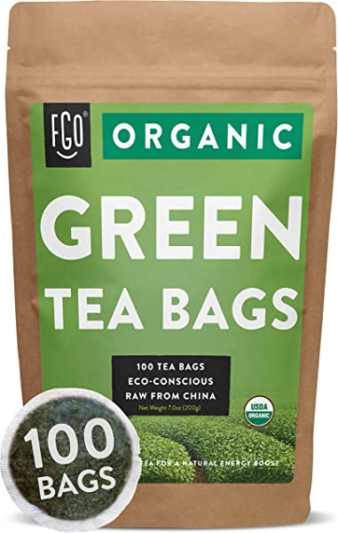 Organic Green Tea Bags 100 Tea Bags Eco Conscious Tea Bags In Foil Lined Kraft Pouch By FGO