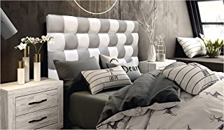 ONEK-DECCO Cabecero de Cama, tapizado en Polipiel Mod. Kansas Patchwork 2 Colores Blanco-Plata para Cama de niño, Juvenil y Matrimonio (Diferente COMBINACIÓN, 135X70)