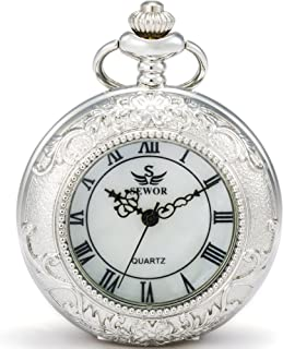 SEWOR Quartz Pocket Watch Shell Dial Magnifier Case with Two Type Chain (Leather+Metal)