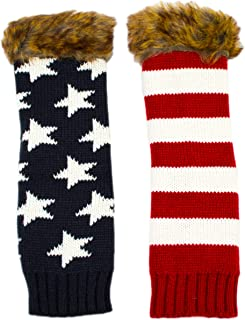 Long Warm Knit American Flag Fingerless Gloves with Faux Fur, Winter Red White Blue Arm Warmers for Women, Texting Gloves