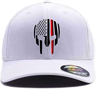Thin RED LINE Spartan Helmet Cap. Embroidered. 6477, 6277 Wooly Combed Twill Flexfit