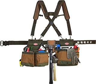 Bucket Boss Airlift 2 Bag Tool Belt with Suspenders in Brown, 50100