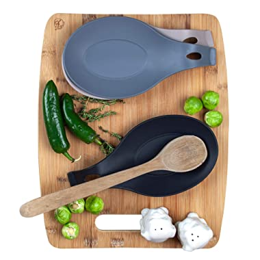 Modern Silicone Spoon Rest - Kitchen Utensil Holder - Quality Material (Set of 3)