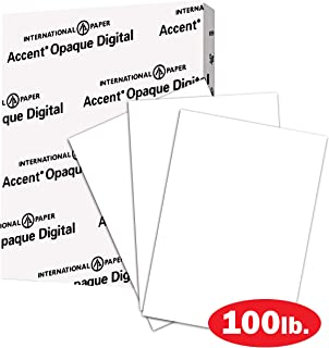 Accent Opaque Thick Cardstock Paper, White Paper, 100lb Cover, 271gsm, 8.5 x 11, 97 Bright, 1 Ream / 200 Sheets – Smooth, Heavy Card Stock (1188091R)