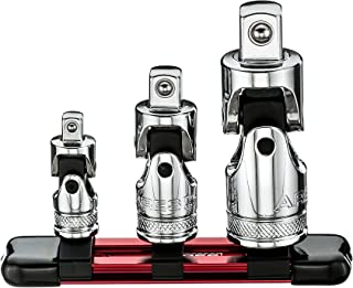 ARES 70197-3-Piece Universal Joint Socket Set - Includes 1/4-Inch, 3/8-Inch, and 1/2-Inch Drive U-Joints - Storage Rail Included
