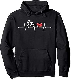 Motocross Heartbeat Gift EKG Dirt Bike Riders Lover Funny Pullover Hoodie