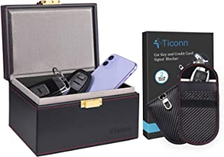 $29 » TICONN Faraday Bag for Key Fob (2 Pack, Carbon Fiber Texture) & Faraday Box (PU Leather), Car RFID Signal Blocking, Anti-T...