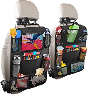 H HOME-MART 2 Pack Car Organisers with 7 Storage Pockets,Car Back Seat Organiser,Car Tablet Holder,Waterproof Backseat Cov...