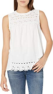 Lucky Brand Women's Sleeveless Crew Neck Embroidered Shiffly Top