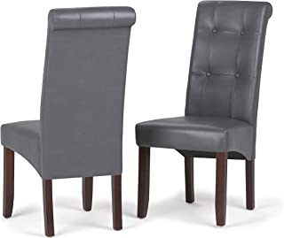 Simpli Home WS5109-4-G Cosmopolitan Contemporary Deluxe Tufted Parson Chair (Set of 2) in Stone Grey Faux Leather