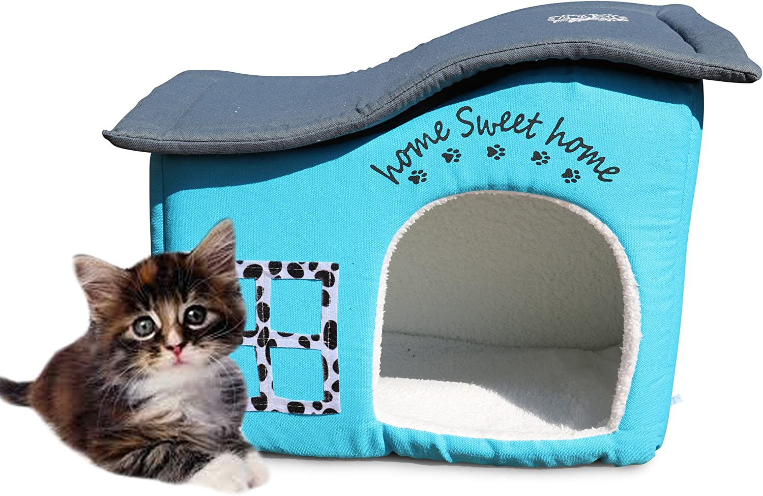 Feline Ruff Indoor Cat House. an Extra Sturdy Luxury Covered Indoor Cat Bed Condo with Cushion. Pet House Shelter for Dogs and Other Pets Too. (Home Sweet Home)