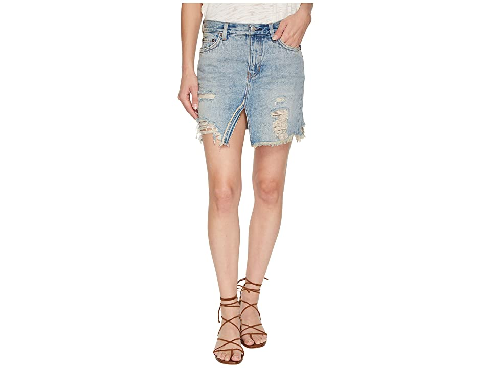 Free People Relaxed and Destroyed Skirt (Blue) Women