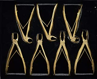 Dental Tooth Extraction Forceps Set of 7 Gold Plated for Baby Teeth Pedodontics Pedo Extraction Tool Children Teeth Extraction