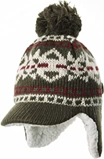 WITHMOONS Knit Fleece Lined Fairs Isle Nordic Ear Flap Bobble Pom Beanie Hat CR1025