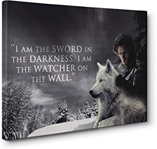 OneCanvas JON SNOW SWORD IN THE DARKNESS WALL ART FRAMED CANVAS PRINT (Small 12x18in.)
