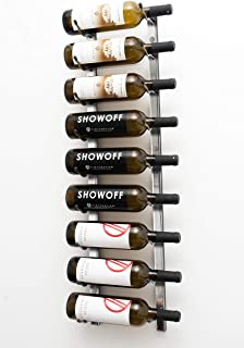 VintageView Wall Series (3 Ft) - 9 Bottle Wall Mounted Wine Rack (Brushed Nickel) Stylish Modern Wine Storage with Label Forward Design