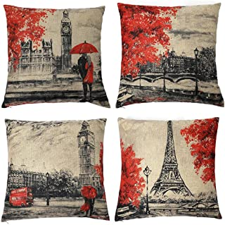 Homyall Eiffel Tower Big Ben Decorative Pillow Covers Square Cotton Linen Lovers Valentine's Day Throw Pillow Covers Set of 4 Pillow Covers 18x18 inch, 4 Packs (Eiffel Tower & Big Ben)