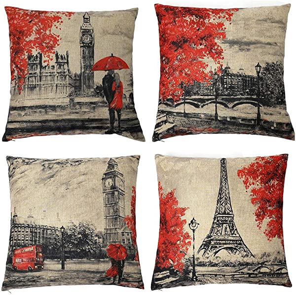 Homyall Eiffel Tower Big Ben Decorative Pillow Covers Square Cotton Linen Lovers Valentine S Day Throw Pillow Covers Set Of 4 Red And Brown Pillow Covers 18x18 Inch 4 Packs Eiffel Tower Big Ben
