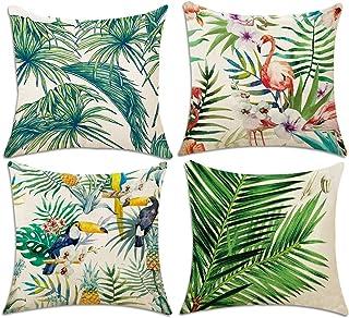 4 PCS Housse de Coussin, Hotipine coton et lin Décoratif Taie D'Oreiller carré Maison Coque Imprimés Chambre Salon Bureau ...