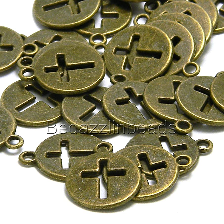 10 Antique Bronze Cut Out Cross 5/8 in Flat Round Coin Charms Pewter Base Metal
