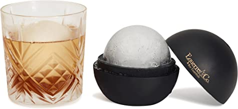 SPHERE ICE MOLDS - Easily Create Large 2.5 Inch Ice Balls With Our Premium Silicone Ice Ball Mold For Whisky, Cocktails, Wine & More. Set of 2 Elegant Black And Gold Ice Sphere Maker With Box