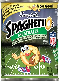 Campbell's SpaghettiOs Canned Pasta, Football Shapes with Meatballs, 15.6 Ounce (Pack of 12)