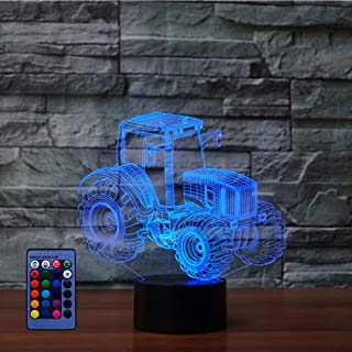 Illusion 3D Tracteur LED Lampe Art Déco Lampe Lumières LED Décoration Lampes Contrôle à distance 7/16 Couleurs Change Veil...