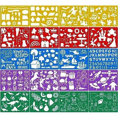 Lot de 10 pochoirs dHalloween en plastique r/éutilisables pour travaux manuels et travaux manuels 20 x 20 cm