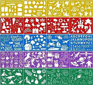 Qpout 20 pièces Modèles de Dessin en Couleur pour Enfants, Plastique Pochoir de Peinture pour Enfants Anniversaire Hallowe...