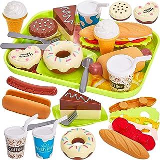 HERSITY Comida Cocinitas Juguete Alimentos Desmontables Hamburguesas Helados Pastel Plastico de Juguete con Bandeja Juegos...