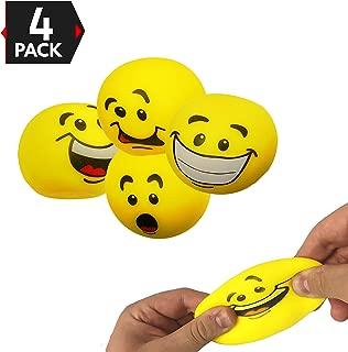 Big Mo's Toys Stress Balls - Emoji Sensory Stress Reliever Fidget Toy Stretch Ball for ADD / ADHD - 4 Pack