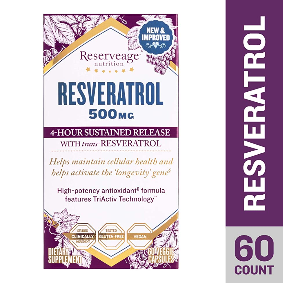 Reserveage - Resveratrol 500mg, Antioxidant Support for a Healthy Heart and Age Defying, Youthful Looking Skin with Organic Red Grapes and Quercetin, Gluten Free, Vegan, 60 Capsules