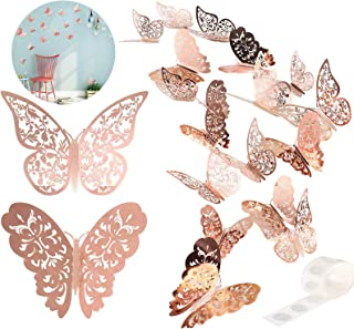 24PCS 3D Butterfly Stickers,Can be Move Butterfly Decorations Wall Stickers for Kids Bedroom Kindergarte Wedding Anniversa...