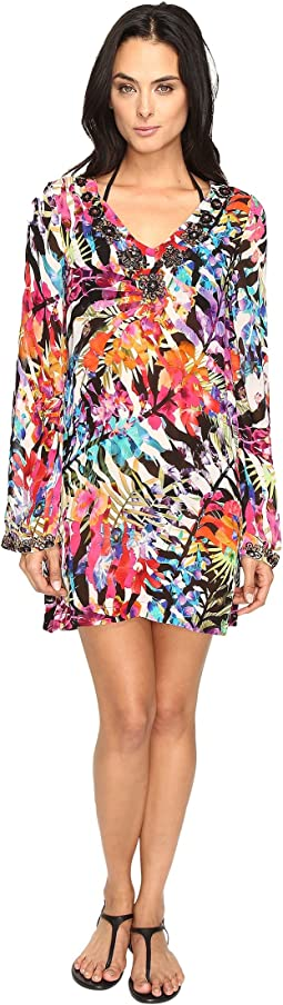La Plage by Nicole Miller Tropical Palms Dress Cover-Up
