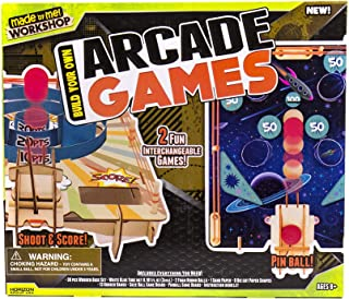 Made By Me Build Your Own Arcade Games by Horizon Group USA, Wooden Game Board, & Multicolored Accessories