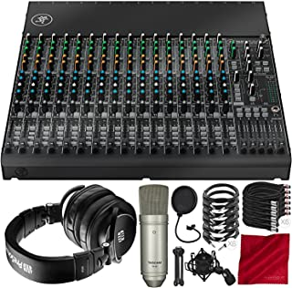 Mackie 1604VLZ4 16-Channel 4-Bus Compact Mixer with PreSonus HD9 Headphones, Tascam TM-80-Microphone, Xpix Mic Filter, and...