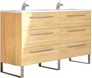 RANDALCO Modern Double Bathroom Vanity Cabinet Set | Dakota Hawaii Oak Wood | 48 x 33 x 18 Inch Vanity Cabinet + 6 Drawers + Ceramic Top Sink