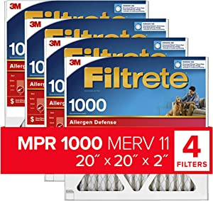 Filtrete 20x20x2 AC Furnace Air Filter, MPR 100, Micro Allergen Defense, 4 Pack (exact dimensions 19.5 x 19.5 x 1.75)
