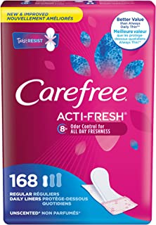 Carefree Acti-Fresh Freedom Fit Panty Liners, Regular, 168 Count