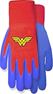 MidWest Gloves & Gear DCW100TH8 Wonder Woman Garden Toddler Gripper, Red Knit Liner/Blue Coating
