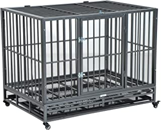 PawHut Heavy Duty Steel Dog Crate Kennel Pet Cage w/Wheels - Grey Vein