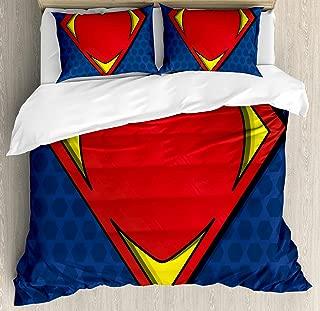 Ambesonne Superhero Duvet Cover Set Queen Size, My Super Hero Shield Logo Heart Figure Valantines Romance Print, Decorative 3 Piece Bedding Set 2 Pillow Shams, Night Blue Red Yellow
